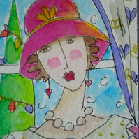 ACEO original little watercolour painting -Baby it's cold outside.