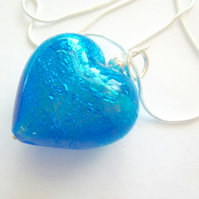 Turquoise Murano glass large heart pendant with sterling silver.