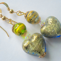 Green Murano glass heart earrings with Swarovski crystal.