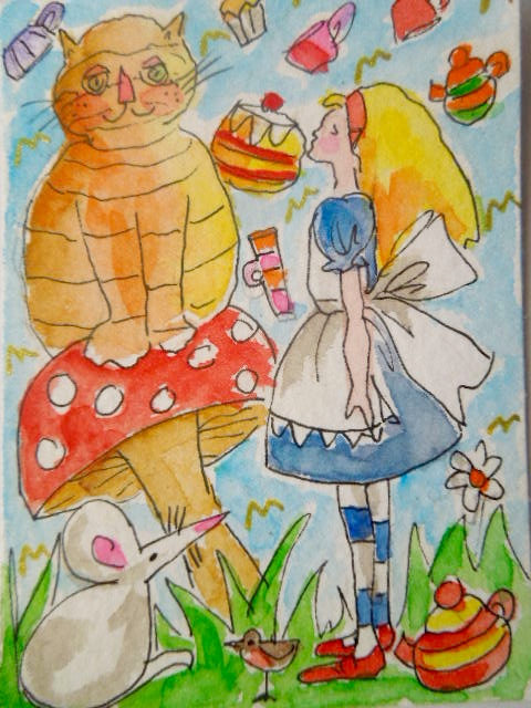 Original aceo collectable watercolour painting - Alice meets the Cheshire Cat.
