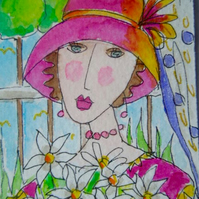 Original aceo collectable watercolour painting - Daisy,daisy.