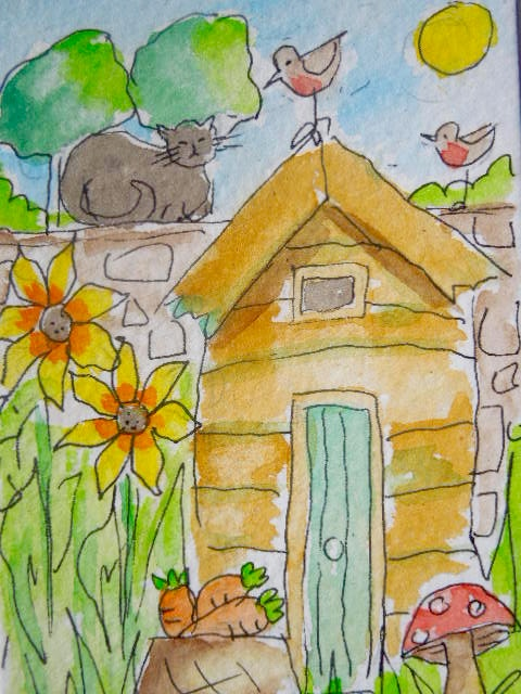 Original little watercolour ACEO - At the bottom of our garden.