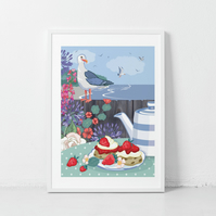 Seagull & Cream Tea Wall Art Print