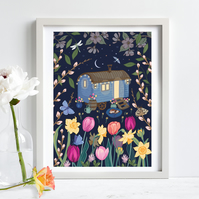 Shepherds Hut In Spring Wall Art Print