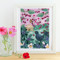 Blackbird Cherry Thief and Yurt Art Print
