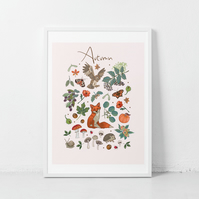 'Autumn' illustration print, nursery wall art