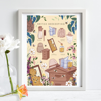'British Beekeeping Guide' Illustration Print A4 Unframed