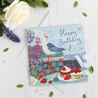 Seagull and Cream Tea Birthday Card