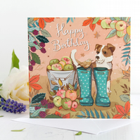 Jack Russell & Jenny Wren on Green Wellies Birthday Card