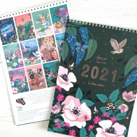 2021 Illustrated Wall Calendar of Wildlife and Flowers