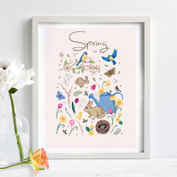 'Spring' illustration print, nursery wall art