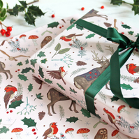 Gift Wrap single sheet with tag, Festive Woodland Christmas Wrapping Paper