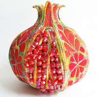 3D Textile Pomegranate Fibre Art Machine Embroidery Vibrant Colourful Hand Dyed