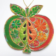 Apple Hanging Decoration with Free Machine Embroidery Hand Dyed