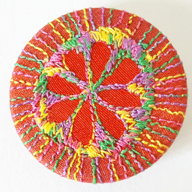 38mm Fabric Flower Badge with Free Machine Embroidery