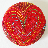 38mm Fabric Heart Badge with Free Machine Embroidery
