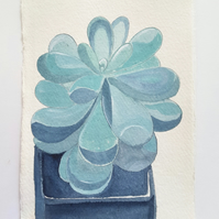 Original Watercolour Succulent Painting on A5 Khadi Paper