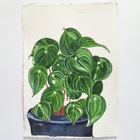 Original Watercolour Pilea House Plant  Painting on A5 Khadi Paper