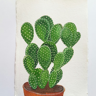 Original Watercolour Bunny Ears Cacti Painting on A5 Khadi Paper