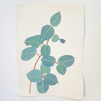Original Watercolour Eucalyptus Painting on A5 Khadi Paper