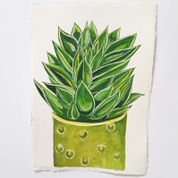 Original Watercolour Succulent House Plant Painting on A5 Khadi Paper