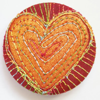 38mm Hand Dyed Fabric Heart Badge with Free Machine Embroidery