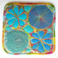 Coaster Drinks Mat Wipe Clean Hand Dyed Free Machine Embroidery Cork Backing