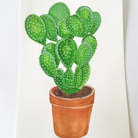 Original Watercolour Bunny Ears Cacti Painting on A4 Watercolour Paper