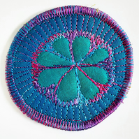 Textile Brooch Free Machine Embroidery