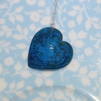 Turquoise Verdigris Patinated Copper Heart Pendant Necklace - UK Free Post