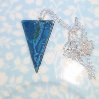 Patinated Copper Triangular Pendant Necklace - UK Free Post