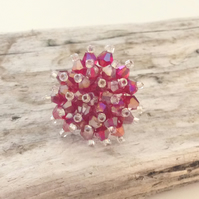 Red Crystal Bead Ring - UK Free Post