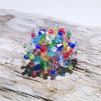 Multi-Coloured Crystal Bead Bling Ring - UK Free Post