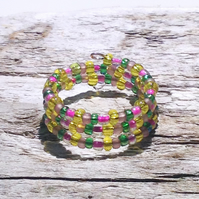 Multi-Coloured Memory Wire Ring - UK Free Post