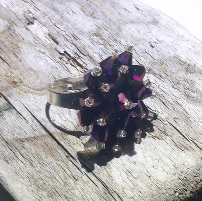 Deep Purple Crystal Bead Ring
