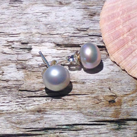 Dove Grey Freshwater Pearl and Sterling Silver Stud Earrings - UK Free Post