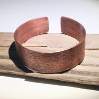 Hammered Copper Cuff Bracelet - UK Free Post
