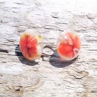Kiln Fused Glass and Sterling Silver Stud Earrings - UK Free Post