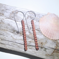 Corrugated Hammered Copper Dangle Earrings - UK Free Post
