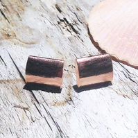Handmade Textured Copper Earrings - UK Free Post