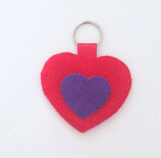 Loving Heart Felt Keyring - UK Free Post