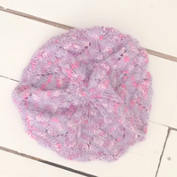 Pretty Purple with Pink Slouch Beret - UK Free Post