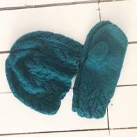 Dark Turquoise Aran Hand Knitted Hat and Mitten Set - UK Free Post
