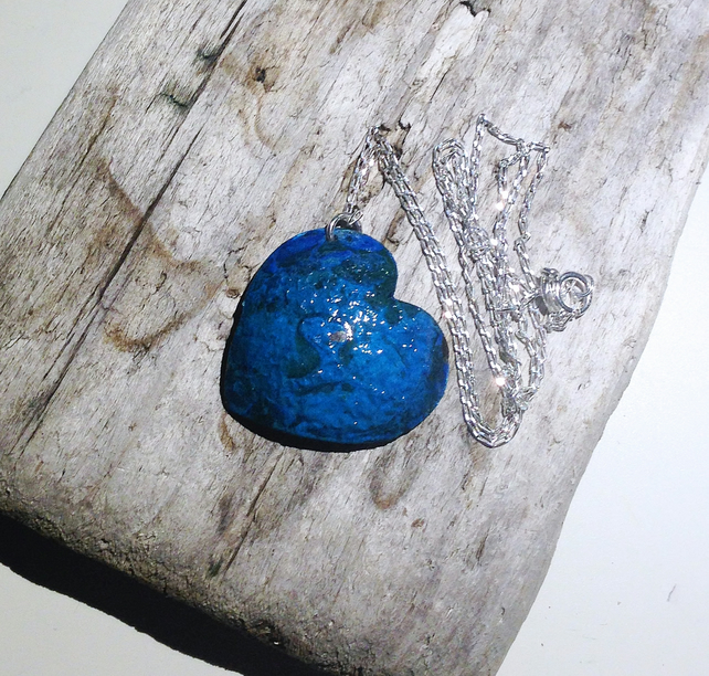 Patinated Copper Heart Pendant Necklace - UK Free Post