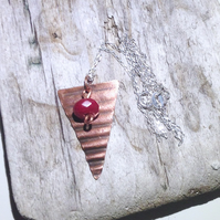 Triangular Corrugated Copper and Red Topaz Gemstone Pendant  - UK Free Post