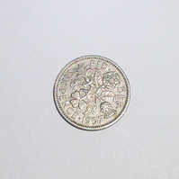1 x Lucky Sixpence Dated 1957