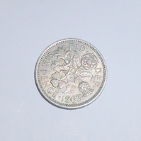 1 x Lucky Sixpence Dated 1963