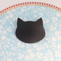 Handmade Oxidised Copper Black Cat Brooch - UK Free Post