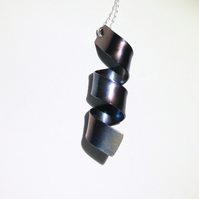 Handmade Coloured Spiral Titanium Pendant Necklace - UK Free Post