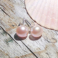 Natural Pink Freshwater Pearl on Sterling Silver Stud Earrings - UK Free Post